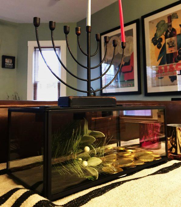 Menorah ready for the 1st night of Chanukah