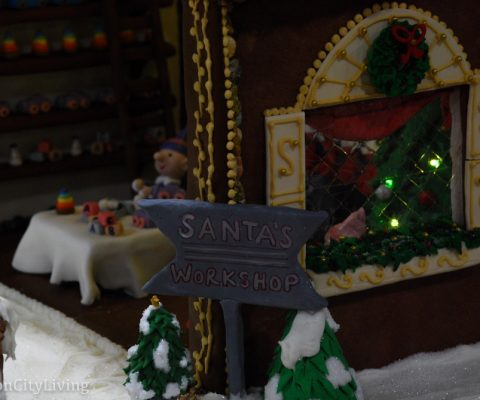 Judging the Gingerbread House Competition at Boston Christmas Festival